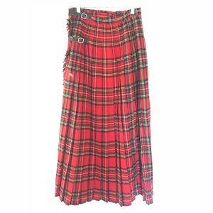 Vintage Real Scottish Plaid Maxi Skirt